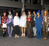 Models in a space fashion show held at the University of Tokyo in November 2006; and a conceptual drawing (left) of what space soccer may look like. | YOSHIAKI MIURA PHOTO; PHOTO COURTESY OF CHARLES LAUER, ROCKETPLANE KISTLER, INC.