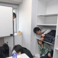 Hiding club members fall foul of a 'seeker.' | YOSHIAKI MIURA PHOTOS