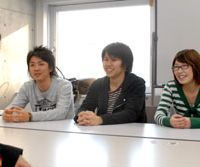 Members of Waseda University's Kakurembo Dousoukai, who only identify themselves as (L to R) Newton Hakushi-yaku, Setouchi Jackson and Omoiyari.