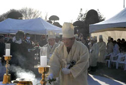 Memorial rites for Korean conscript remains repatriated from Japan six decades after World War II were held at South Korea's Manhyange Dongsan national cemetery on Jan. 23. | KOJI NANBA PHOTO