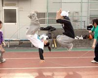 Members of Tokyo's Nippon Sports Science University's mixed Double Dutch squad called Rannawa (meaning 'wild rope') show off their truly astounding athletic skills (above and below) during a recent practice session. | YOSHIAKI MIURA PHOTOS