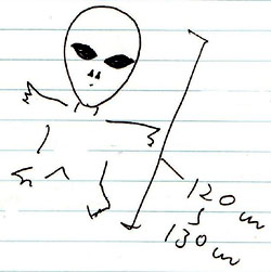 A FERI member's sketch depicts a diminutive 'gray' extraterrestrial life form. | PHOTO COURTESY OF FERI