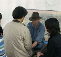 Issues of concern: James Heartland works with people on Earth Day in Tokyo's Yoyogi Park.