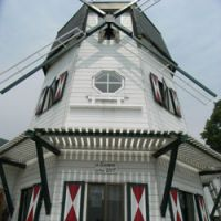 A home-made windmill is the abode of Dutchman Michel Habets.