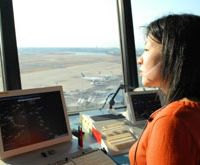 An ATC calmly regards sky and screen at Tokyo's Haneda Airport, which on an average day sees around 1,000 flights passing through. | YOSHIAKI MIURA PHOTO