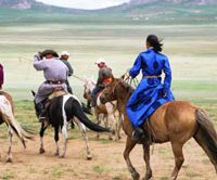 Kin of the Khan: Inner Mongolians of the 21st century ride where their nomad empire-builder Genghis once did. | MATTHIAS MESSMER PHOTO