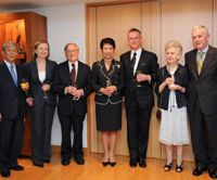 A star-studded gathering at the residence of the Irish ambassador celebrates the publication of Peter McMillan's book. From left: Dr. Hiroharu Matsuda, chairman of the board of trustees, Kyorin University; Madam Margaret Scannell; Professor Donald Keene; Princess Takamado; Peter McMillan; Madam Eileen Kato; Ambassador Brendan Scannell.