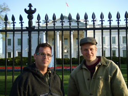 Capital location: Filmmakers Matthew Antell (left) and David Hearn take a break from filming in Washington, D.C.