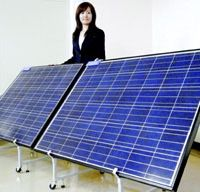 Power point: A Sharp Corp. staffer displays some of the Osaka-based firm's solar-power equipment. For many years, Sharp was the world's top producer of solar-power equipment, but it was overtaken in 2007 by Q-Cells because the German firm correctly anticipated the huge surge in demand for silicon and secured scarce supplies ahead of its Japanese rival. | KYODO PHOTO