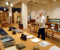 Eco-emporium: Jurgen Lehl surveys the wares at his studio in Tokyo, where lifestyle products from his Babaghuri brand now supplement his original, eponymous ranges of clothes. | YOSHIAKI MIURA PHOTO