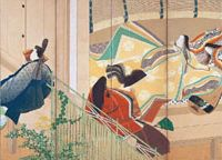 Screen star: A 1912 'Tale of Genji' -based screen painting, 'The Princess at Uji Palace,' by Matsuoka Eikyu | HIMEJI CITY MUSEUM OF ART