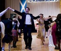 Sound of Scotland: Music and dancing are never far away when the life of Scotland's national poet, Robert Burns, is celebrated anywhere in the world. Dancing and bagpipes highlight the evening at the St. Andrew Society of Yokohama and Tokyo Burns Supper last month at the ANA Intercontinental Hotel in Tokyo. | NICK HORTON PHOTO (above), DAVID MCKAY PHOTO (below)