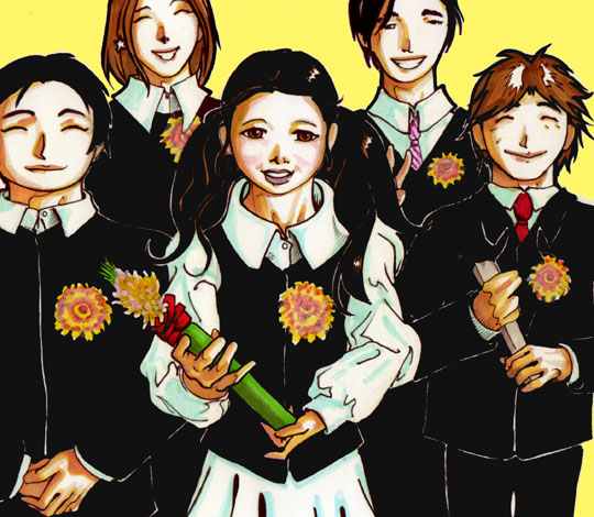 Reversal of fortune: In an illustration based on a photo supplied by Richard Cory, 13-year-old Michiko attends her elementary school graduation just hours before she was spirited away from the family home by her mother. | ILLUSTRATION BY RICARDO PAES