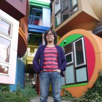 Set piece: Filmmaker Nobutaka Yamaoka at the Shusaku Arakawa-designed condo that he made a documentary about his experience of living in. | TOMOKO OTAKE PHOTO