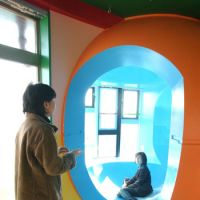 Life time: Visitors experience the interior of one of architect Shusaku Arakawa's 'death-defying' condos. | YOSHIAKI MIURA PHOTO