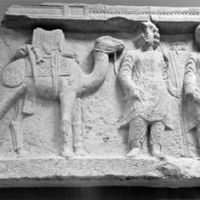 Set in stone: Some carvings (above) hint at Palmyra's former trading links, while funerary carvings found in underground tombs provide clues to Japan's connection via the Silk Road.