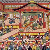 Mass entertainment: An illustration from the early 1740s by Masanobu Okamura (1686-1764) of the Ichimura-za, a major kabuki theater in Edo (present-day Tokyo) that survived numerous fires and rebuildings until it was razed for the last time in 1932.
