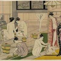 Eye-opener: A 1780s woodblock print titled 'Bathhouse Women' by Torii Kiyonaga (1752-1815). In the 18th century, Edo (present-day Tokyo) had more than 600 bathhouses — places which, though separated by gender, were described in 1809's 'Floating World Bathhouse' by Shikitei Sanba as being 'the shortest route there is to moral and spiritual enlightenment.'