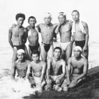 Beach boys: 'I'm the skinny one standing on the left,' Tadao Sato said of this picture of him with friends in Joetsu, Niigata Prefecture, in the late 1940s. | TADAO SATO PHOTO