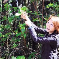 Eco-guide Mio Yanagase delights in blooms she came across in the island's woods. | SATOKO KAWASAKI PHOTOS
