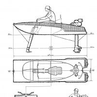 Fast by design: Horiuchi's sketches for his 1950s twin-strut racing hydrofoil that could bank more and so turn more quickly than regular three-strutters.