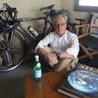 Don Morton raises a mug to bicycles and cold beer