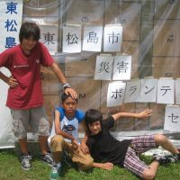New arrivals: Ben Perkins (left), Shuwan Hanna (center) and Alex Matsutani at the Higashi- Matsushima Volunteer Center in Miyagi Prefecture on June 20. | MINORU MATSUTANI PHOTOS
