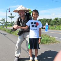 Kohler is pictured with a local boy in Oshamanbe, southern Hokkaido on Aug. 28.