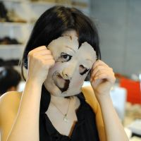Actress Yaeko Kiyose pulls a face on set.