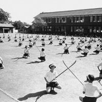 Fighting spirit: Just as their medieval ancestors did, these female students in Miyazaki Prefecture during World War II train with naginata in order to be able to defend their homes and virtue from the enemy while their menfolk were away answering the call to military duty.