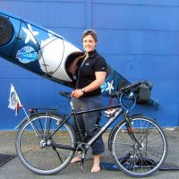 It took English adventurer Sarah Outen 226 days to reach Tokyo from London, traveling only by bicycle and kayak. | GIANNI SIMEONE