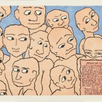 Among Steiner's works are 'Yam-Ydolem thinks you are beautiful, too' (above), 'Gray ears' (below) and 'Attention Please.'