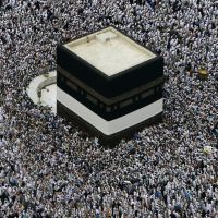 Some of around 6 million Muslims who attend the annual Hajj pilgrimage to Mecca, Saudi Arabia, gather on Dec. 16, 2007, around the ancient cuboid-shaped Kaaba, Islam's most sacred site, which is situated within the city's Masjid al-Haram Mosque. | KYODO PHOTO