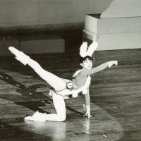 Bunny girl: Fifteen-year-old Kagita plays the role of the rabbit in a modern ballet performance of 'Alice in Wonderland' in Tokyo in 1980. | MAYUMI KAGITA PHOTO