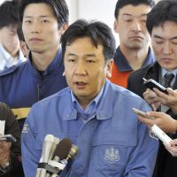 Official lines: Chief Cabinet Secretary Yukio Edano on April 17, 2011, during his first visit to Fukushima after the disasters triggered by March 11's Great East Japan Earthquake. | KYODO PHOTO