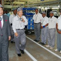 Business trip: Trade and Industry Minister Yukio Edano at a Nissan plant in Chennai on Jan. 10. Since 2000, Japanese firms have invested over $5 billion in Tamil Nadu. | KYODO