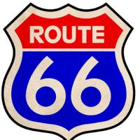Along the way: The iconic Route 66 marker shield and a map of the road that once ran from Chicago to L.A. | MARK SCHREIBER