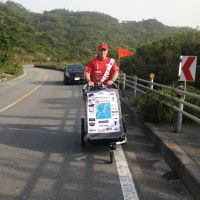 Not content of just running the length of Japan, Justyn Brown is pushing his buggy all the way to Hokkaido. | COURTESY OF JUSTYN BROWN