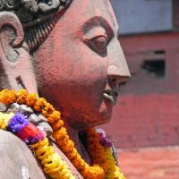 Fine features: The face of a Garuda bird statue in the Durbar Square in Katmandu. | VICTORIA JAMES PHOTOS
