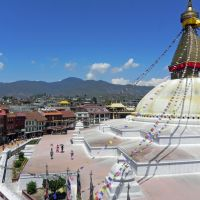 Eyes-catching: The ancient Boudharnath Stupa about 10 km from central Katmandu is surrounded by monasteries established by Tibetan refugees.