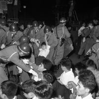 Fight for your rights: Police break up a sit-down student strike near the Diet in 1961.  The action was staged to protest proposed legislation curbing such behavior. | AP