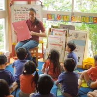 Double speak: As part of an English immersion program held at MeySen Kindergarten in Sendai, 4-year-olds take a lesson with a native English teacher.   MAMI MARUKO PHOTOS