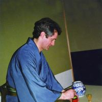 Happy return: David Atkinson, chairman and CEO of Tokyo-based Konishi Decorative Arts and Crafts Co., at a tea ceremony held in April at Kangiin Shodenzan Temple in Kumagaya, Saitama Prefecture, which the company restored. | DAVID ATKINSON