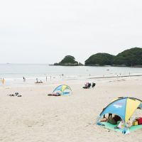 Sun worship: The beach at Yumigahama on Umi-no-Hi (Marine Day).