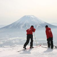 Aussies' delight: Mount Yotei is seen from the ski slopes of Mount Niseko-Annupuri in the winter resort town of Niseko, Hokkaido. | COURTESY OF THE NISEKO PROMOTION BOARD