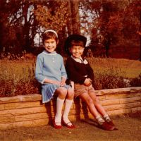 Two's company: Michael Woodford in autumnal Lichfield, central England, with his older sister, Yvonne, when he was aged '4 or 5.' | PHOTO COURTESY OF MICHAEL WOODFORD