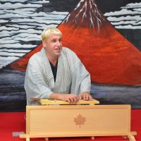 On stage: Katsura Sunshine performs rakugo at his theater Ise Kawasaki Kikitei in Ise, Mie Prefecture, in November. | COURTESY OF KATSURA SUNSHINE