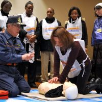 Readying for the worst: Participants in a disaster drill held Jan. 23 by the  Tokyo Metropolitan Government engage in fire extinguisher practice at the Edo-Tokyo Museum in Sumida Ward. | YOSHIAKI MIURA
