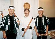 Ondekoza drummers (from left) Takahiro Yoshida, Seizan Matsuda and Ichitaro Nakanoshima lead a life that combines physical and mental self-discipline.