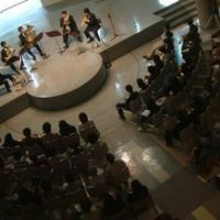 Welcome to the cheap seats: A brass quintet performs at Sendai City Youth Cultural Center as part of 2007's Sendai Classical Music Festival, where all tickets are ¥1,000.